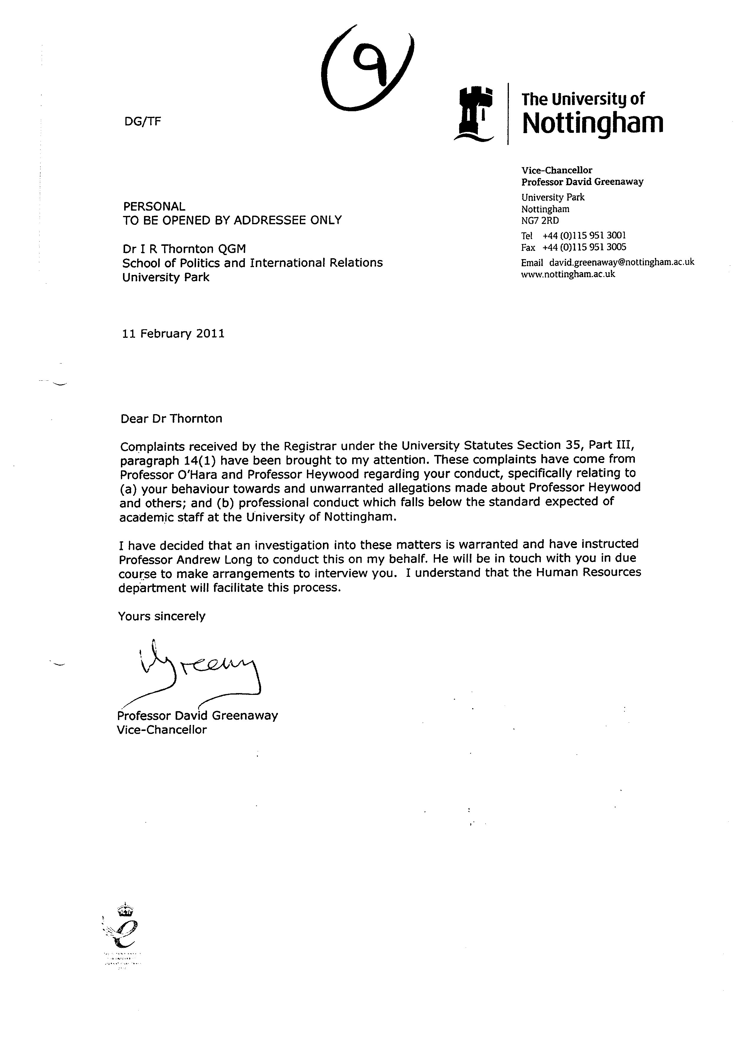 Radicalisation at universities or radicalisation by universities letter to author from vice chancellor professional david greenaway 11 february 2011 spiritdancerdesigns Gallery